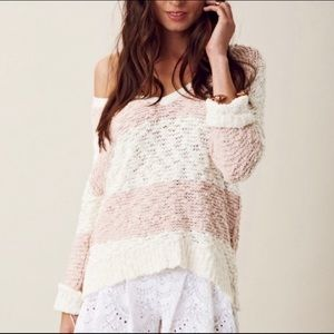 Free People Pink Stripe Pull-over Knit Sweater